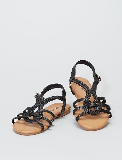 Sandales plates avec brides tressées                             noir