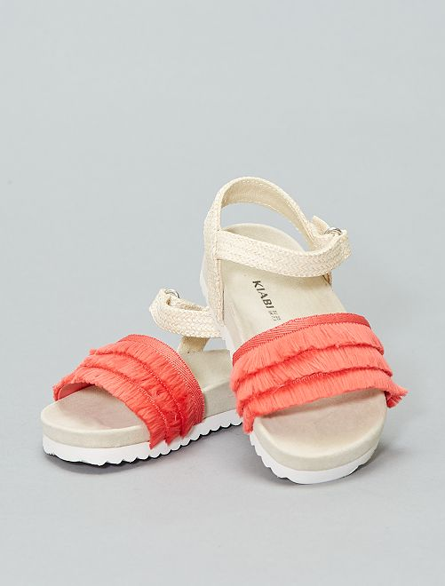 Sandales plates  avec franges                             rouge Fille