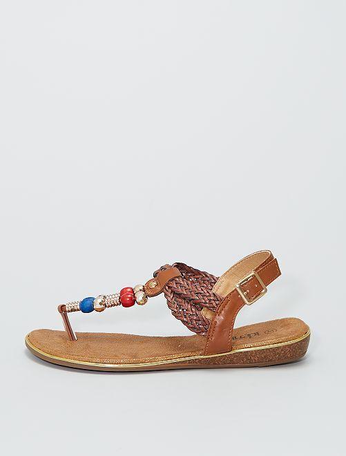 Sandales plates avec perles                             brun