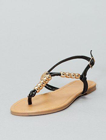 Sandales plates avec perles dorées