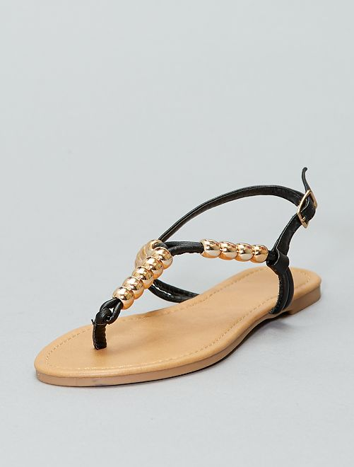 Perles Dorées Avec Sandales Plates OukTlXwiPZ