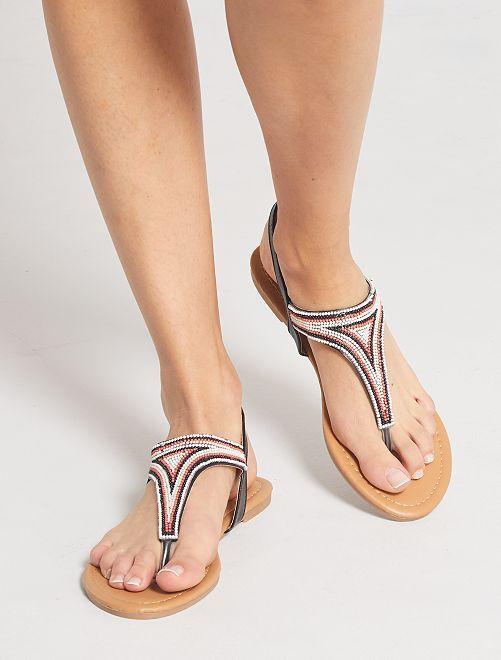 Sandales plates avec perles                                         noir