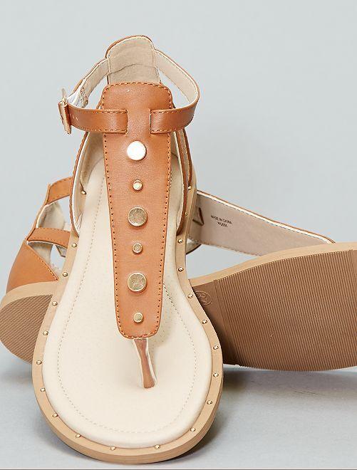 Sandales plates avec rivets                                         marron Femme