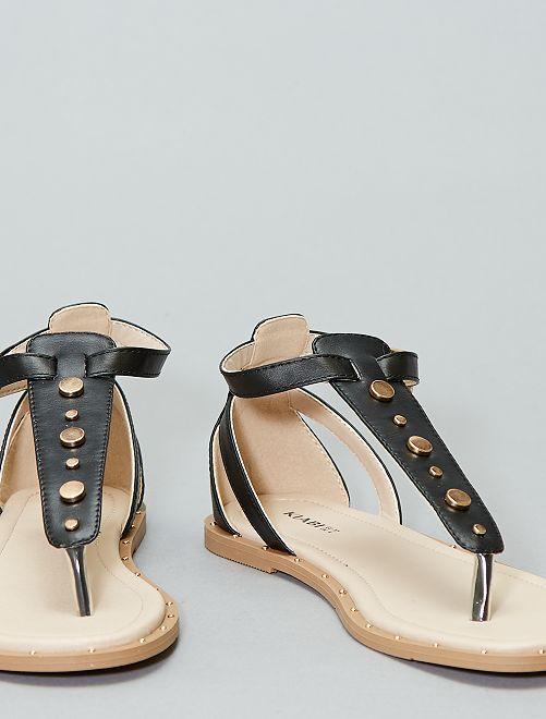Sandales plates avec rivets                                         noir Femme