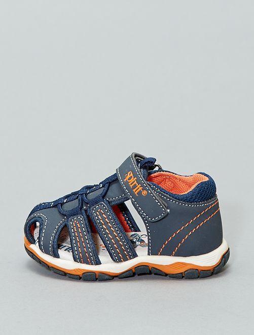 Sandales plates avec semelles sport                             BLEU