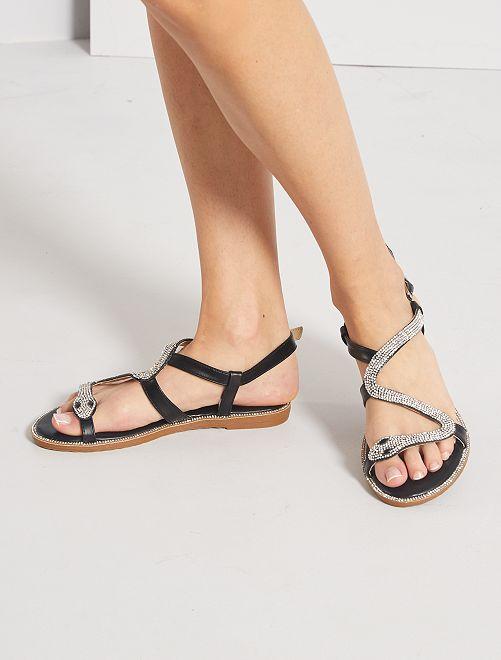 Sandales plates avec strass serpent                                         noir
