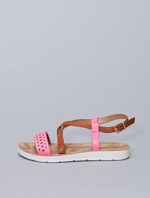 Sandales plates bicolore                             rose