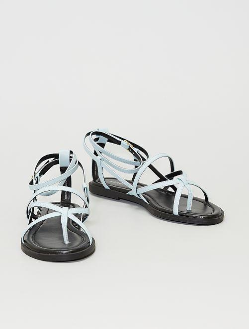 Sandales plates                                                     bleu