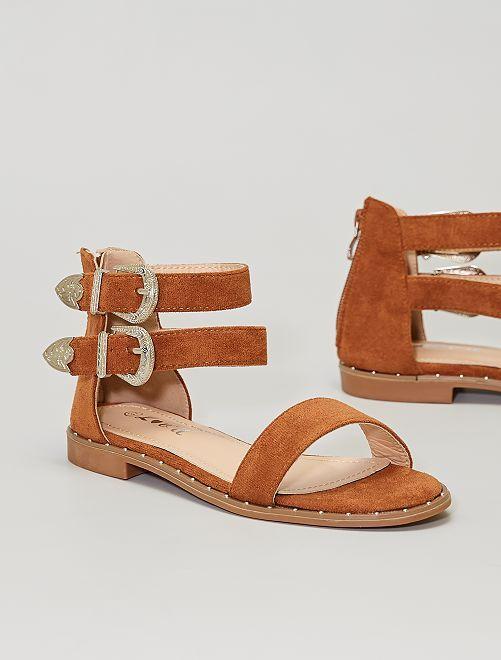 Sandales plates boucles western                                         camel