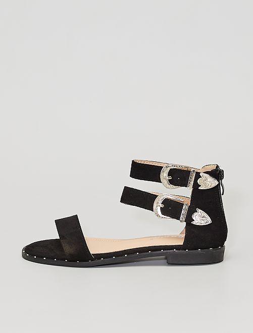 Sandales plates boucles western                                         noir