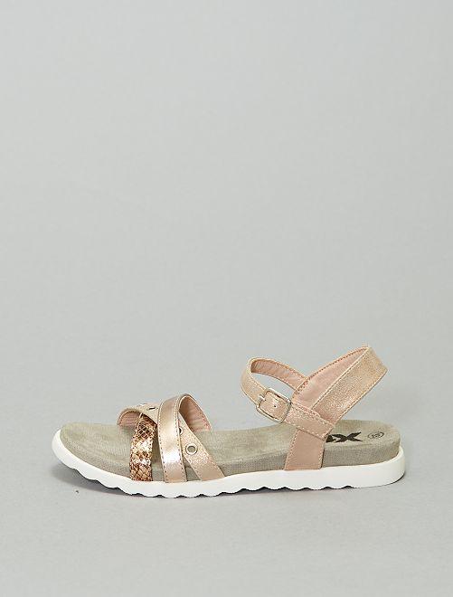 Sandales plates bride fantaisie                             gris/rose