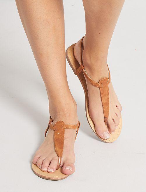 Sandales plates                             brun