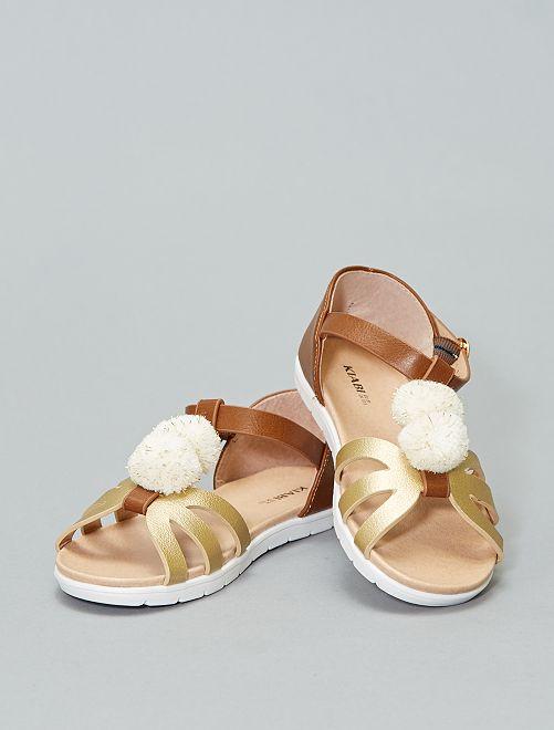 Sandales plates dorées à pompons                             marron / doré