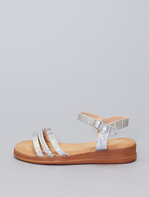 Sandales plates en simili argenté                             argent