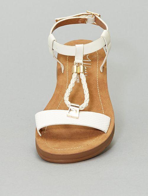 Sandales plates en simili                             beige