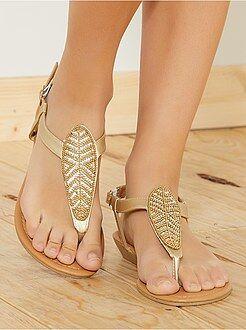 Sandales plates en simili - Kiabi