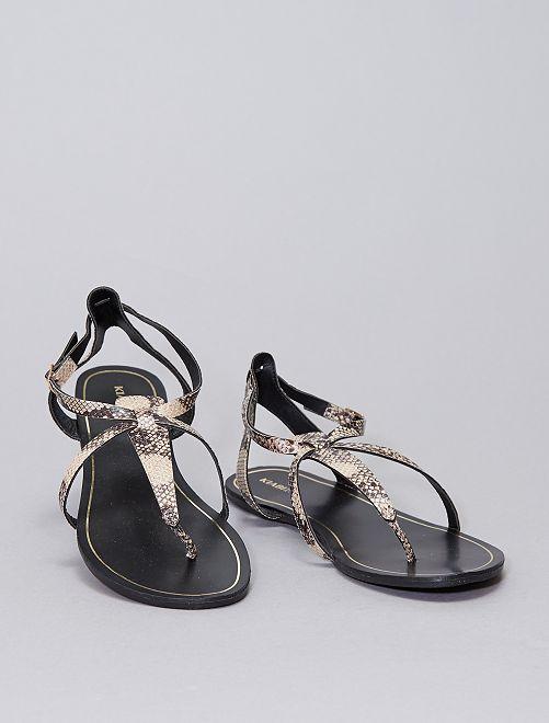 Sandales plates en simili                             KAKI