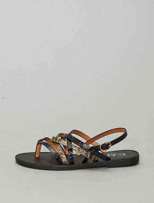 Sandales plates en simili                             noir