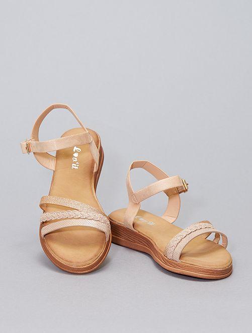 Sandales plates en simili pailleté                             rose