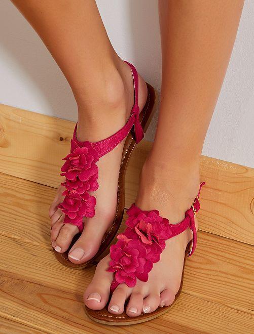 Sandales plates en suédine                             fuchsia