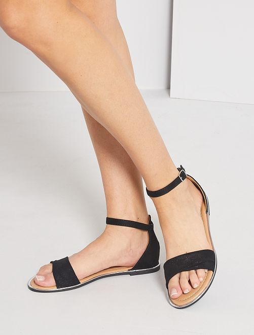Sandales plates en suédine                             noir