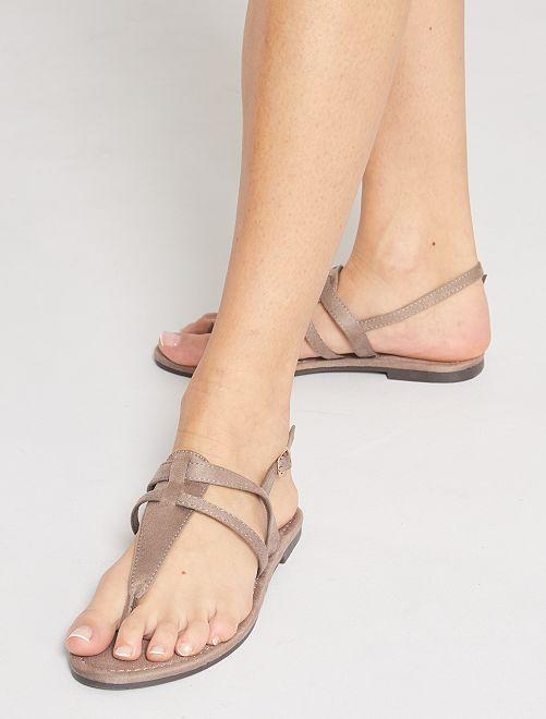 Sandales plates en suédine                                         taupe
