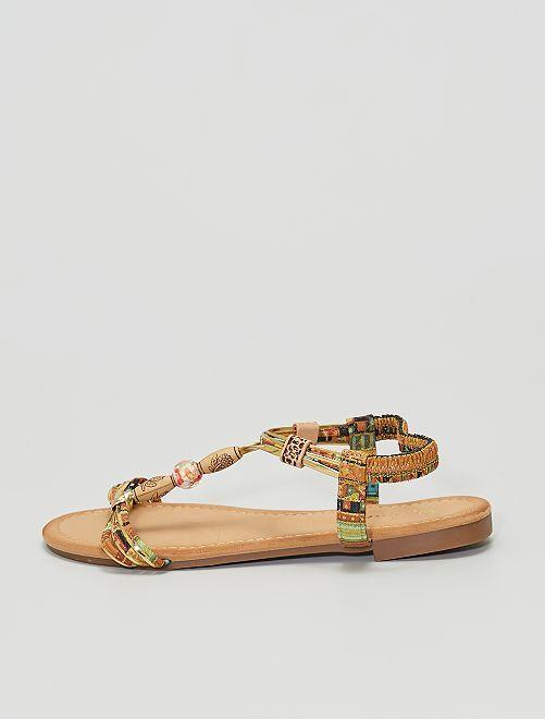 Sandales plates en textile et perles                             marron