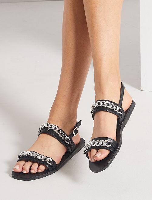 Sandales plates et chaîne argentée                             noir