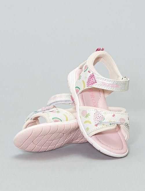 Sandales plates 'fruits'                             argent Fille