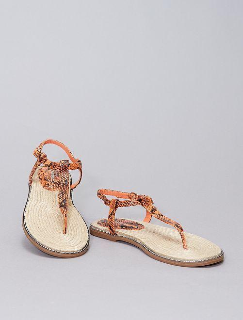 Sandales plates imprimées 'écailles'                             orange