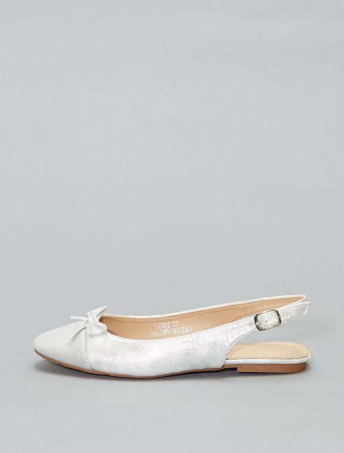 Sandales plates irisées                             argent Femme