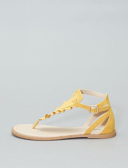 Sandales plates                             jaune Femme
