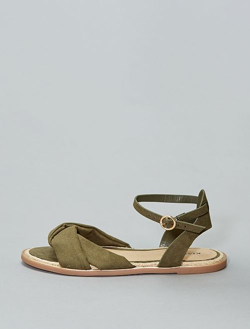 Femme 7 20€ Sandales Plates Kiabi Kaki c3RjL54Aq