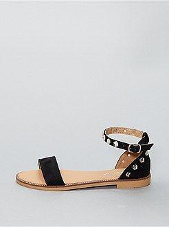 Sandales plates montantes en suédine - Kiabi