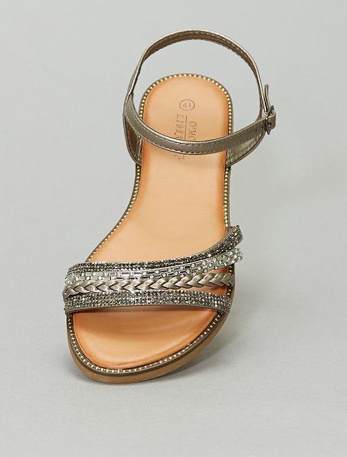 Sandales plates multi brides fantaisies                             gris