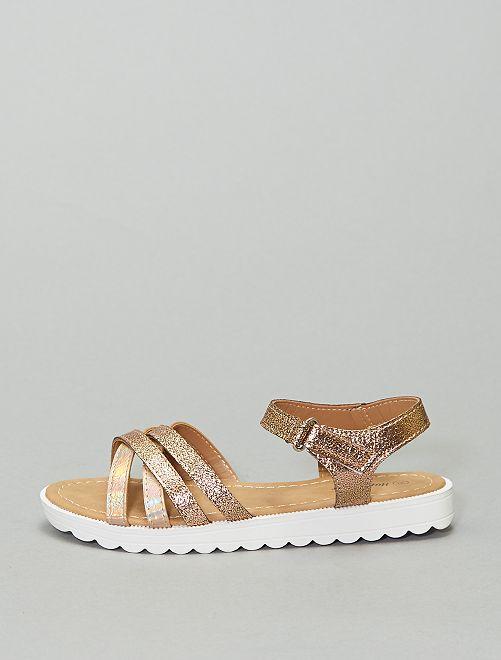 Sandales plates multi brides                             marron
