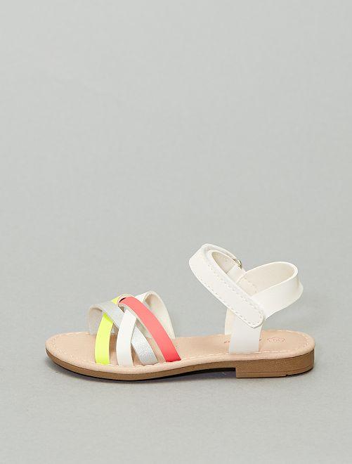 Sandales plates multicolores                             rose