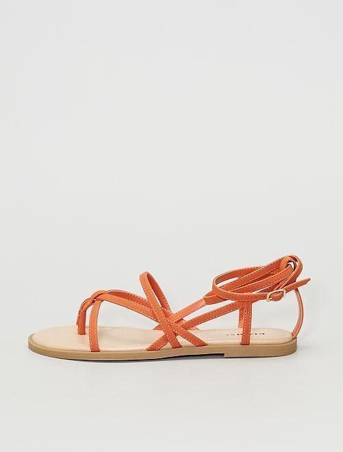Sandales plates                                                     orange