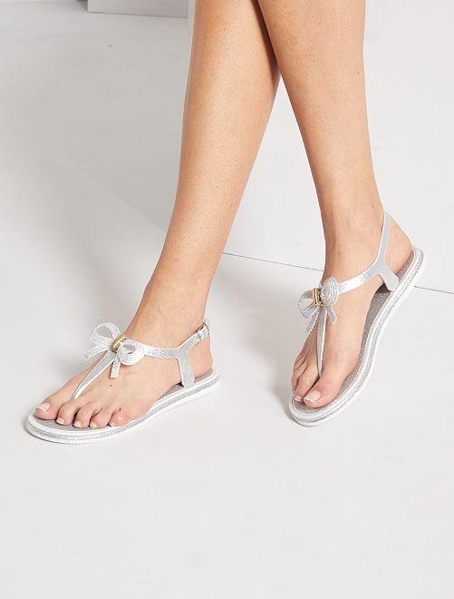 Sandales plates pailletées                             argent