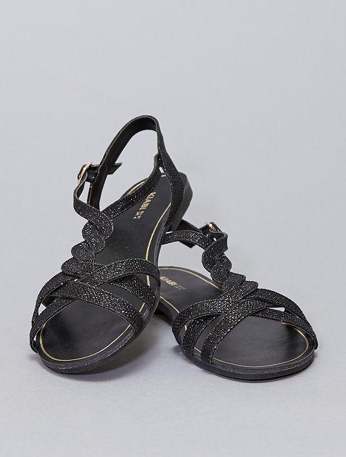 Sandales plates pailletées                     noir