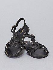Sandales plates à strass et breloques Femme noir Kiabi