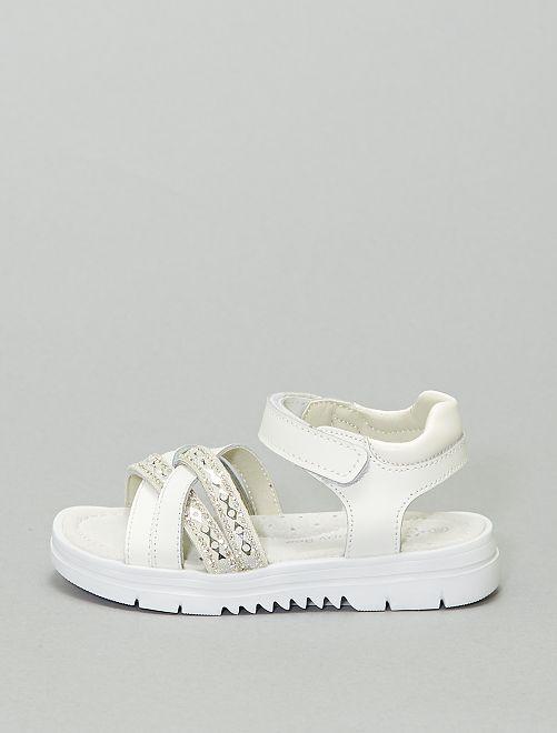 Sandales plates semelles épaisses                             blanc