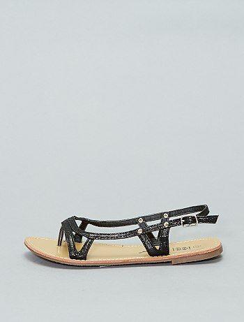 Sandales plates vernies