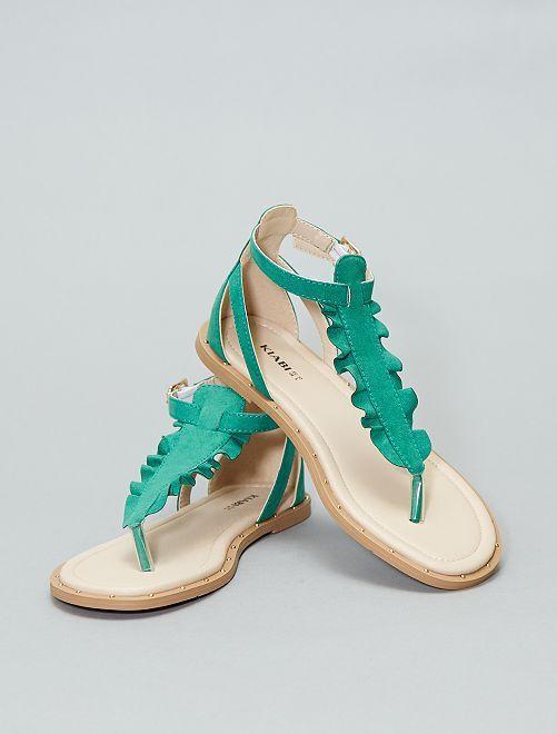 Sandales plates                                         vert Femme
