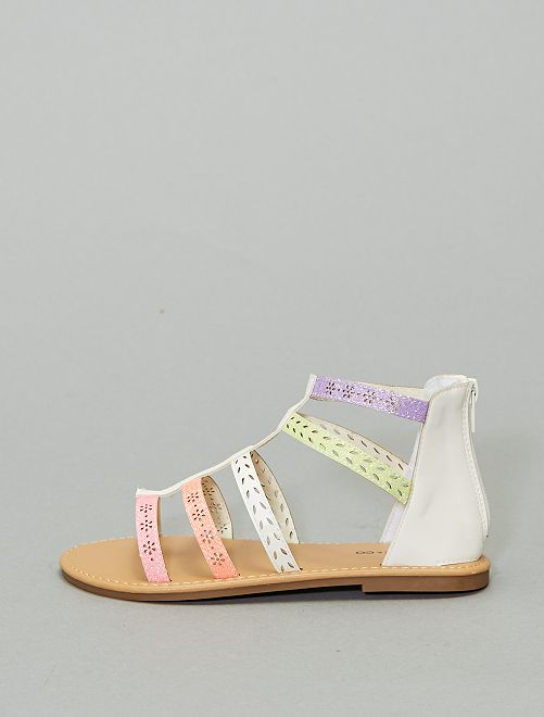 Sandales spartiates pailletées                             beige