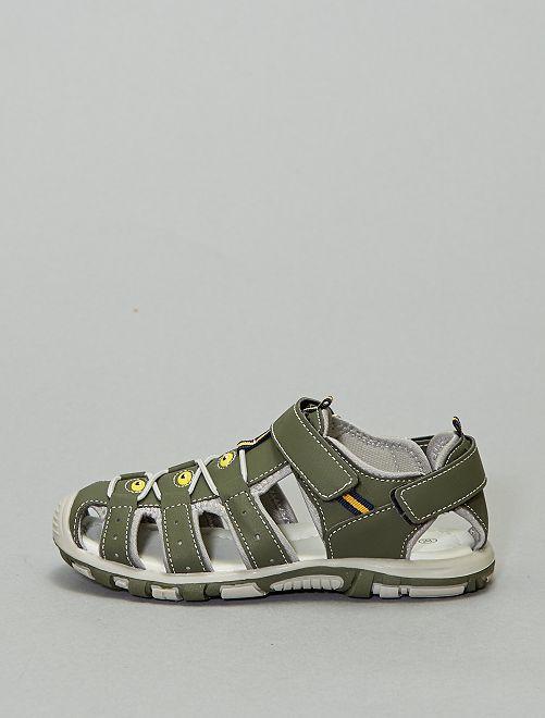 Sandales sport à scratchs                             kaki