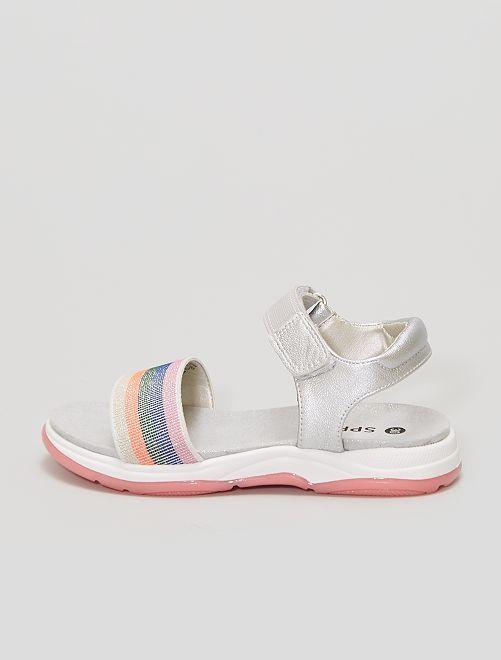 Sandales sport argentées et pailletées                             multicolore