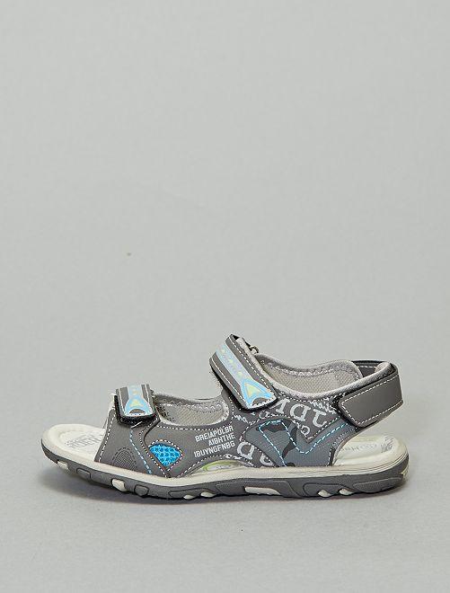 Sandales sport imprimées                             gris foncé