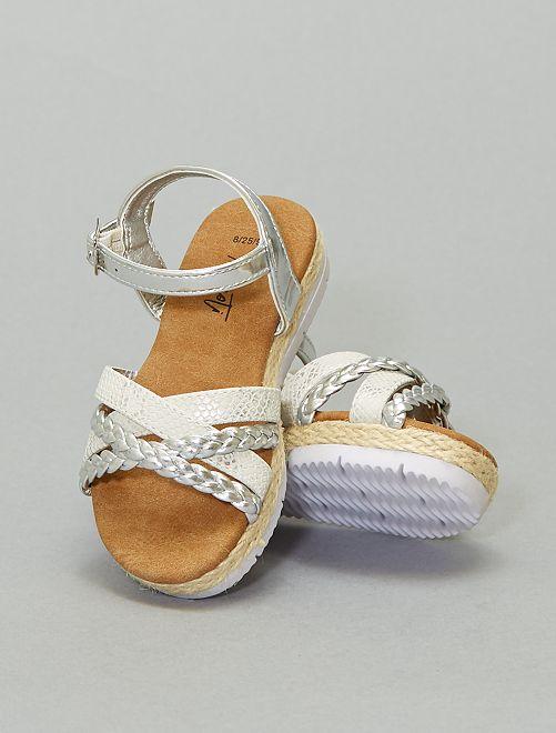Sandales tressées argentées                             argent
