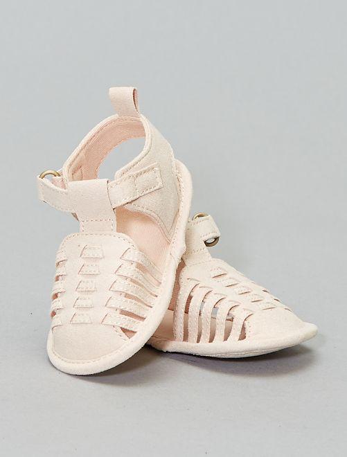 Sandales tressées en suédine                             beige rosé Bébé fille